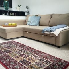 Corner Sofa Bed With Storage Friheten Manual American Leather Sectional Skiftebo Beige In