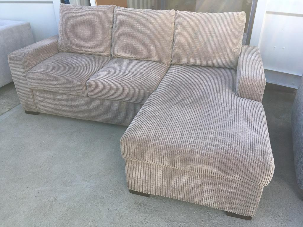 ex display sofa bed uk chesterfield next day delivery nutmeg cord fabric right hand corner with storage
