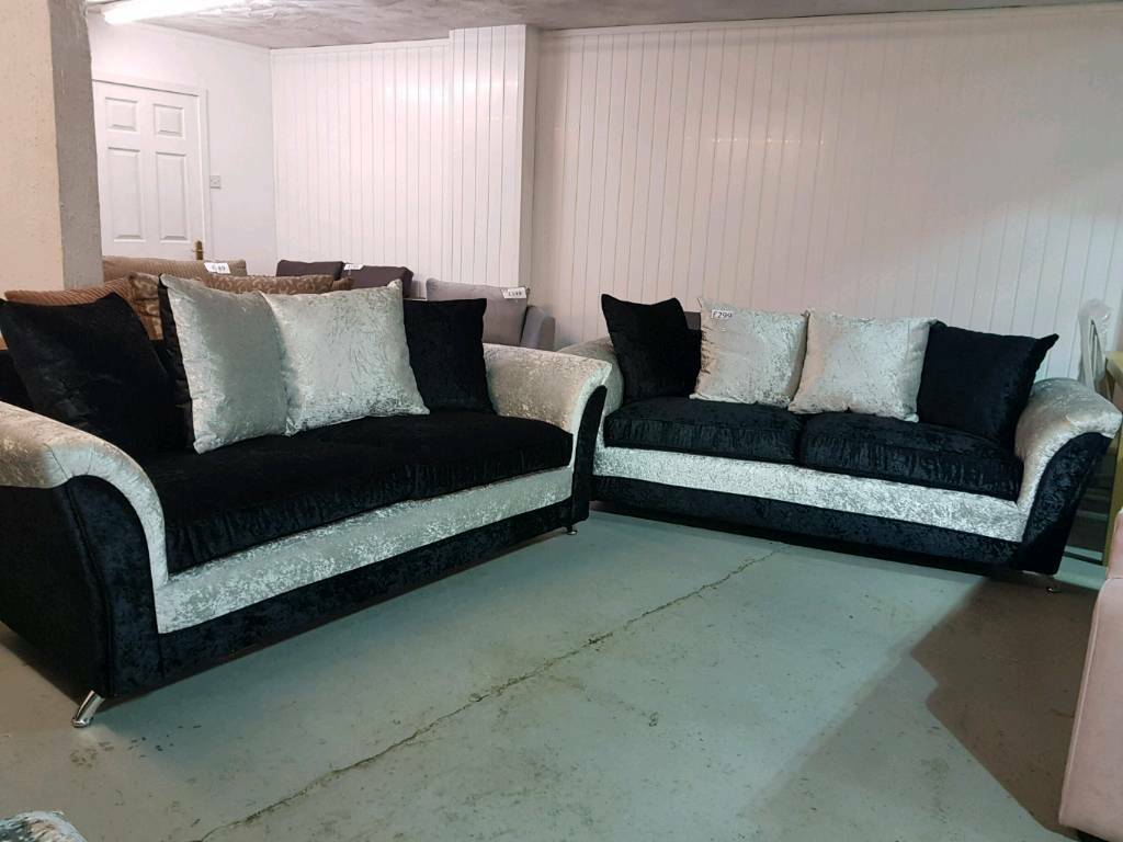 glam sofa set sectional deals new 2 x 3 seater zulu crushed velvet silver black suite delivery available
