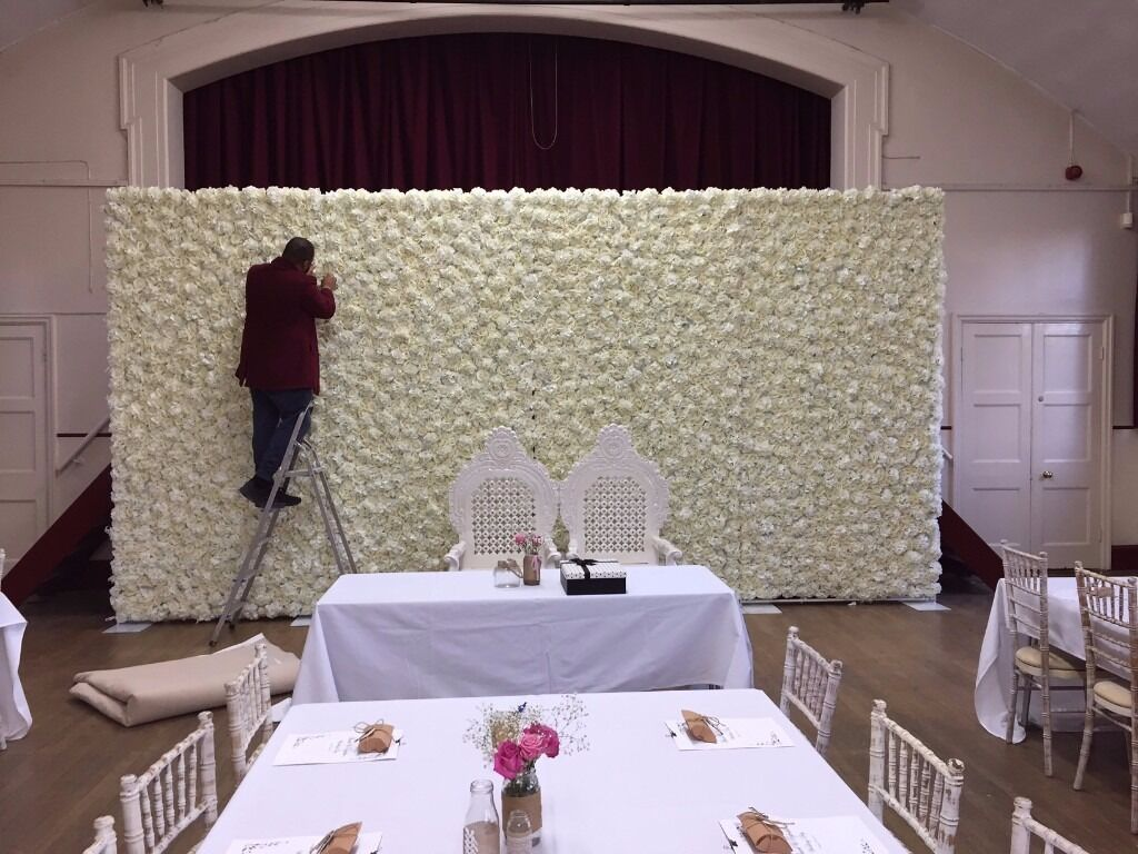 chair cover hire sheffield home depot shower wedding flower wall backdrop only 449 10ft x 20ft