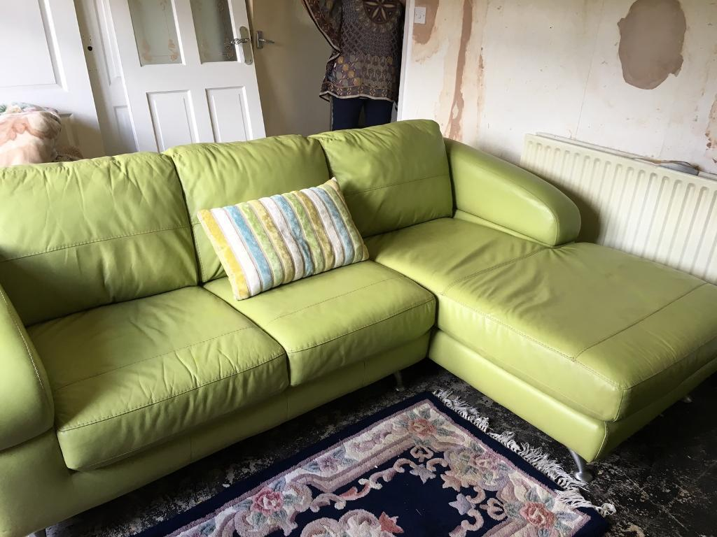 green leather corner sofa bed ikea microfiber dfs lime and chair in bishop