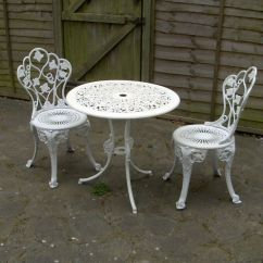 Cast Iron Outdoor Chairs Bedroom Glass Chair Patio Bistro Set Aluminium Table Garden