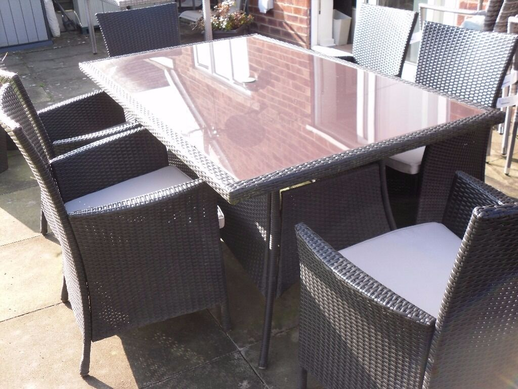 rattan garden chairs and table stress free panama 6 seater brown effect