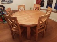 Solid oak round dining table and 6 chairs | in Farnborough ...