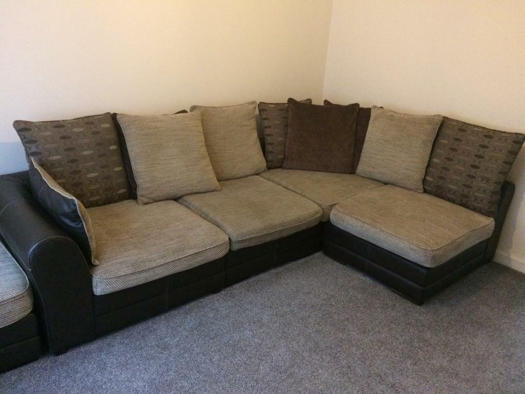 brown and beige corner sofa ikea rp covers uk scs with large foot stool in