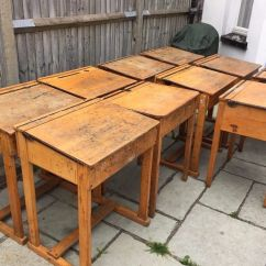Wooden School Chairs Front Porch Rocking Lowes Large Vintage Retro Antique Flip Top Desk