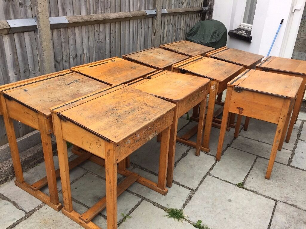 Wooden School Chairs Large Vintage Retro Antique Flip Top Wooden School Desk