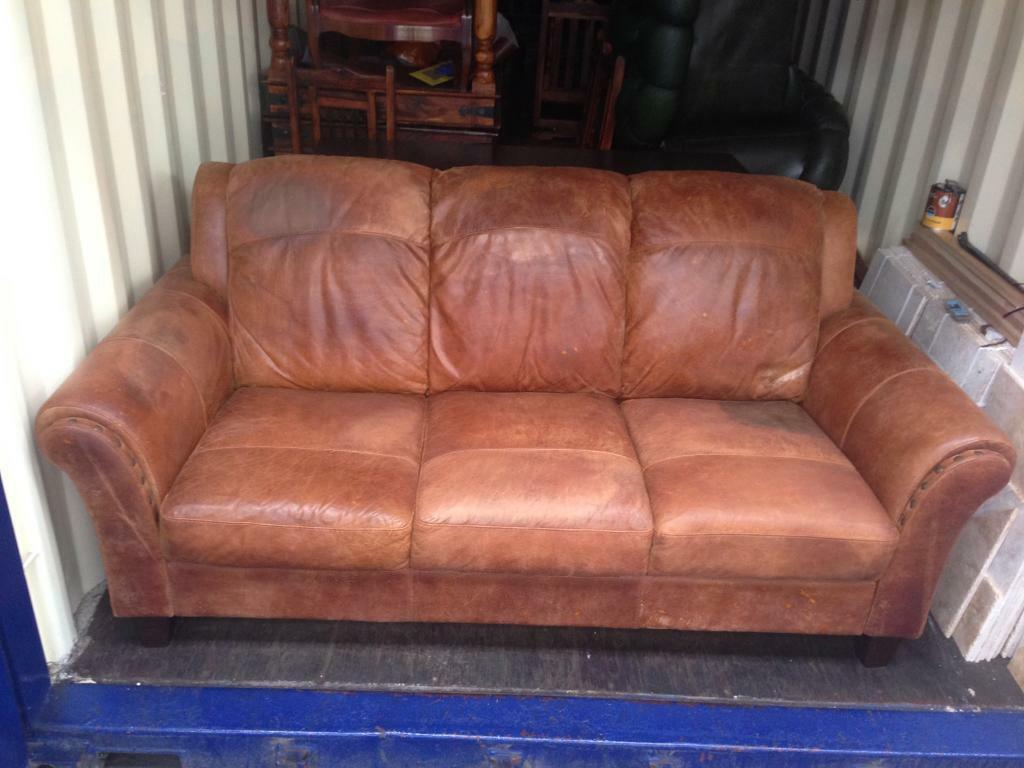 brown leather studded sofa all reclining art deco vintage tan distressed 3