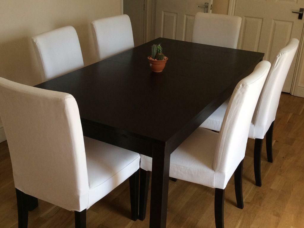 ikea dining table chair covers al fresco st tropez hanging and cushion bjursta extendable with 6 chairs in