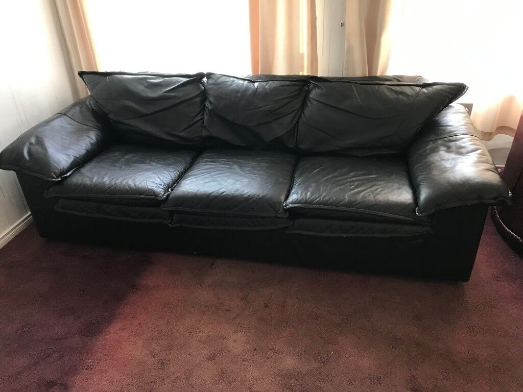 black leather sofa simple modern large 3 seater for sale 150 in omagh county