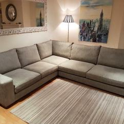 Grey Large L Shaped Sofa Leather Corner Housing Units Shape Excellent Condition Price