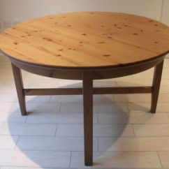 Ikea Wooden Dining Table 4 Chairs Tub Chair And Stool Leksvik Round Extending Solid Wood