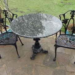 Cast Iron Outdoor Chairs Round Table And Chair Sets Garden With Marble Top 2 In