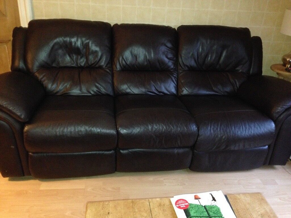 two seater recliner sofa gumtree behind table with chairs reids brown leather 3 and 2 sofas in