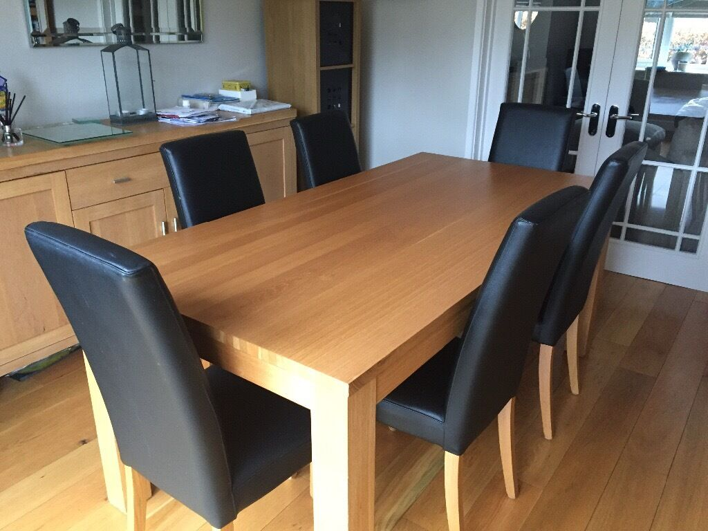 suede dining table chairs hercules big and tall drafting chair solid oak with 6 black leather