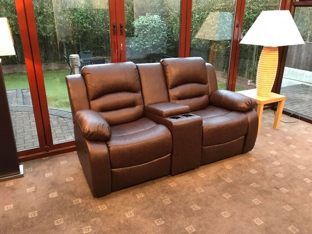 two seater recliner sofa gumtree sofas pillows wiltshire brown leather 2 cinema with