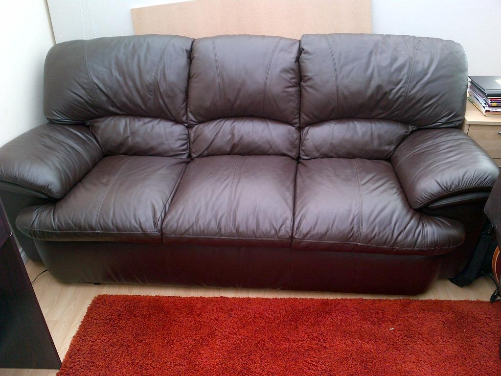 free sofa uplift glasgow ashley furniture canada table brown leather suite 3 seater and 2 chairs in ibrox