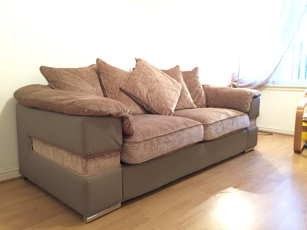 material and leather sofa american for sale by owner 3 seater fabric brown mink colour in motherwell