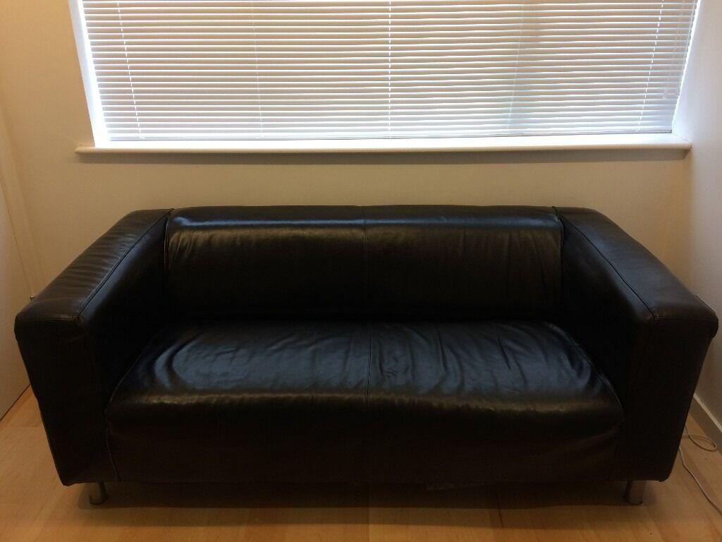 Ikea Black Leather Sofa 44 Off Ikea Skogaby Black Leather Sofa Sofas  TheSofa