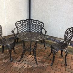 Cast Iron Table And Chairs Gumtree Stool Chair Walmart Garden Black Effect Bench In