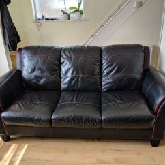 Sofa East London Gumtree How To Make A Table Top Dfs Real Leather Suite, Black With Red Piping. 3 Seat ...
