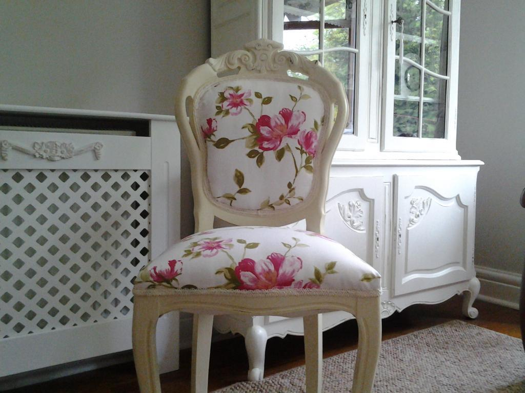 bedroom chair on gumtree glider stool shabby chic french louis reupholstered cream in