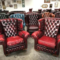 Leather Wing Chairs Uk Crate And Barrel Lounge Chair Stunning Oxblood Chesterfield Pair Of Wingback