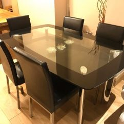 Dining Room Table And Chairs Gumtree Outdoor Folding Glass Set With 6 Black Chrome
