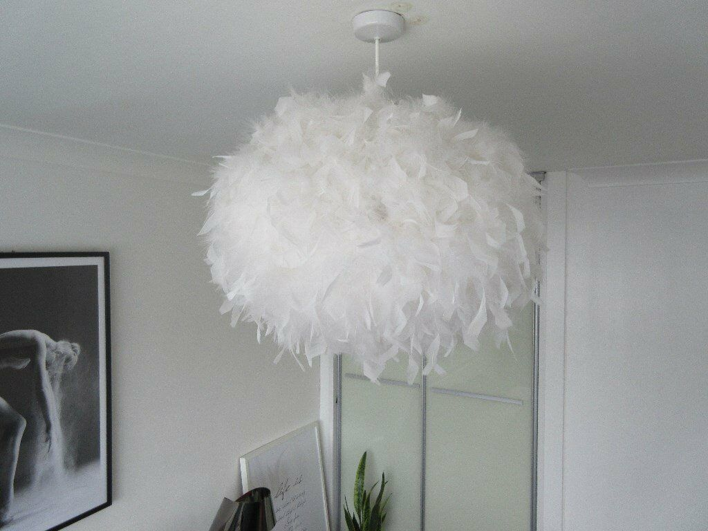 Large White Feather Ceiling Pendant Lamp Shade (D)50cm