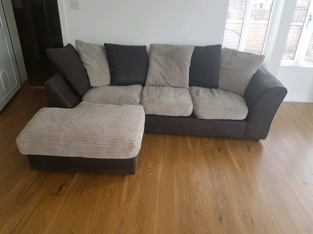 corner sofa brown and cream grey with nailheads free local delivery in