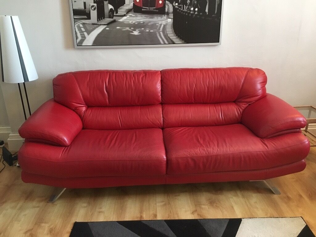 leather red sofa designer sofas australia 4 seater and 3 footstool matching in