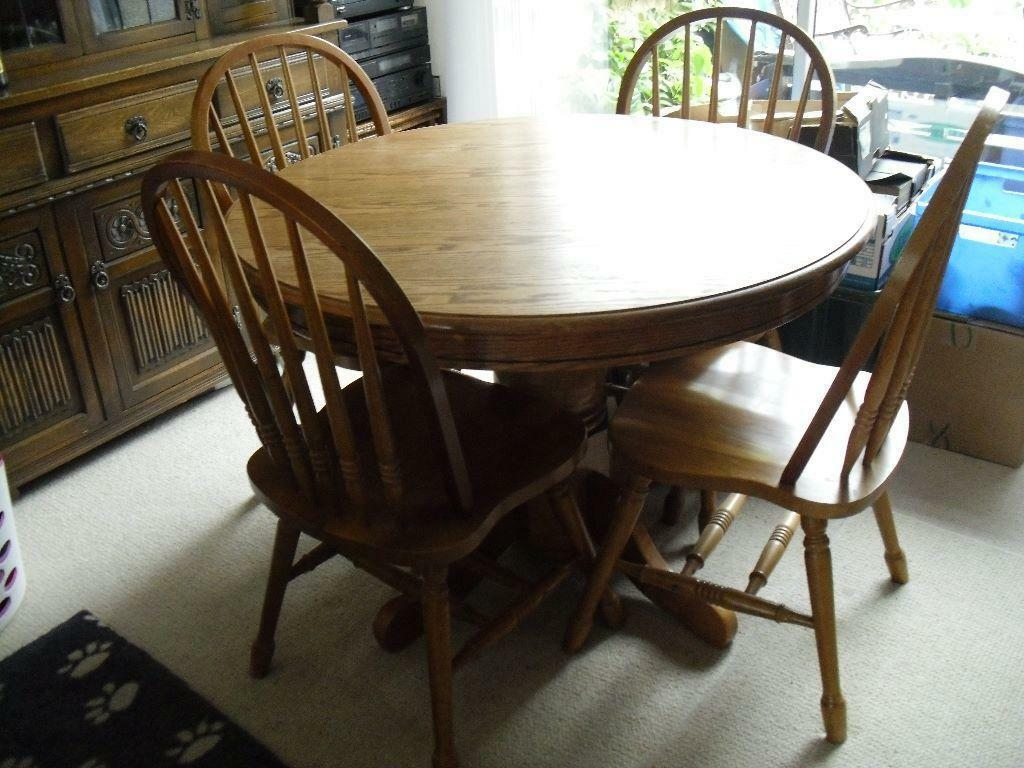 round oak table and 6 chairs ikea replacement chair covers uk hardwood with four spindle back 42