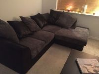 Black leather and grey suede effect corner sofa brand new ...