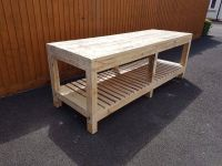 MASSIVE WOODEN WORK BENCH, 8ft WIDE, HEAVY DUTY, STRONG