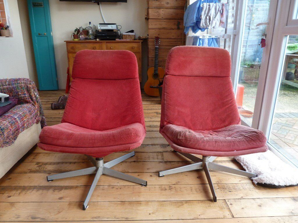swivel chair uk gumtree wedding alibaba retro red cord chairs ikea in poole dorset