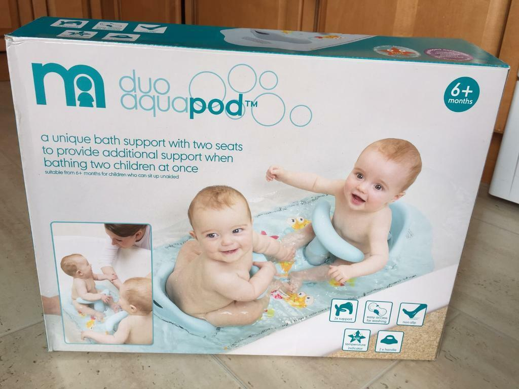 baby bath chair mothercare iron table and chairs aqua pod duo twin seat in box