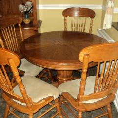 Round Oak Table And 6 Chairs Portable Folding Chair Lightweight Extendable 4 In South Elmsall