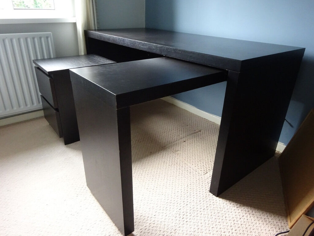 IKEA MALM desk with pullout panel  MALM drawer unit  in