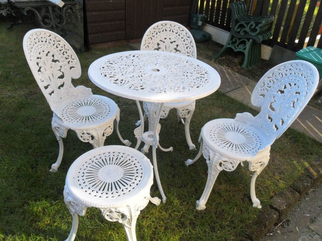 white bistro chairs material dining uk cast alloy set table 3 and stool ornate