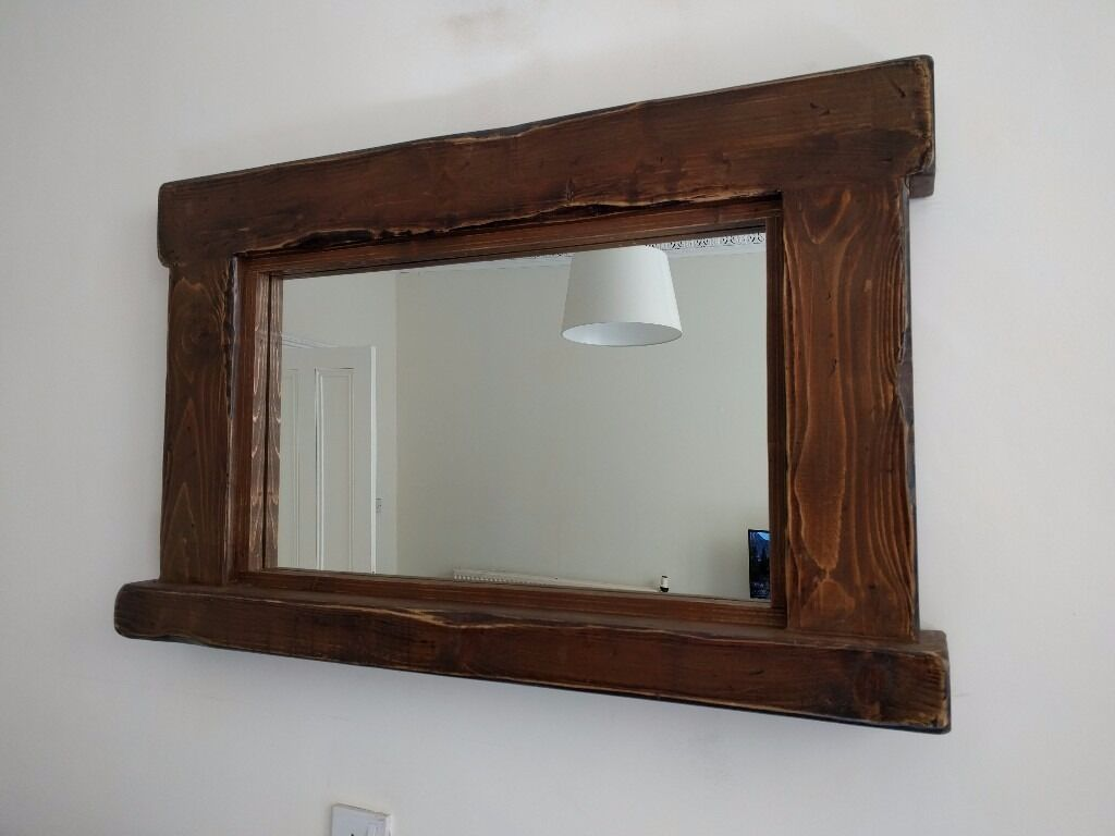 Large rustic wood framed mirror and shelf