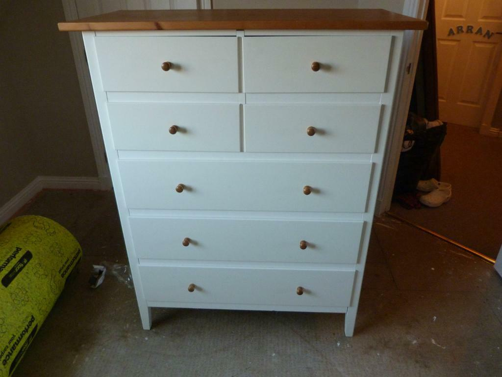 Ikea Visdalen White Chest Of Drawers With Wooden Top  In