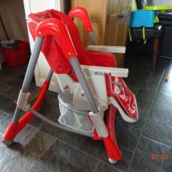 Double High Chair Red Recliner Foxhunter Baby Foldable Highchair Feeding Seat