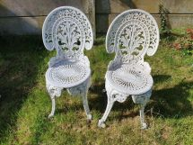 2 cast iron garden chairs patio