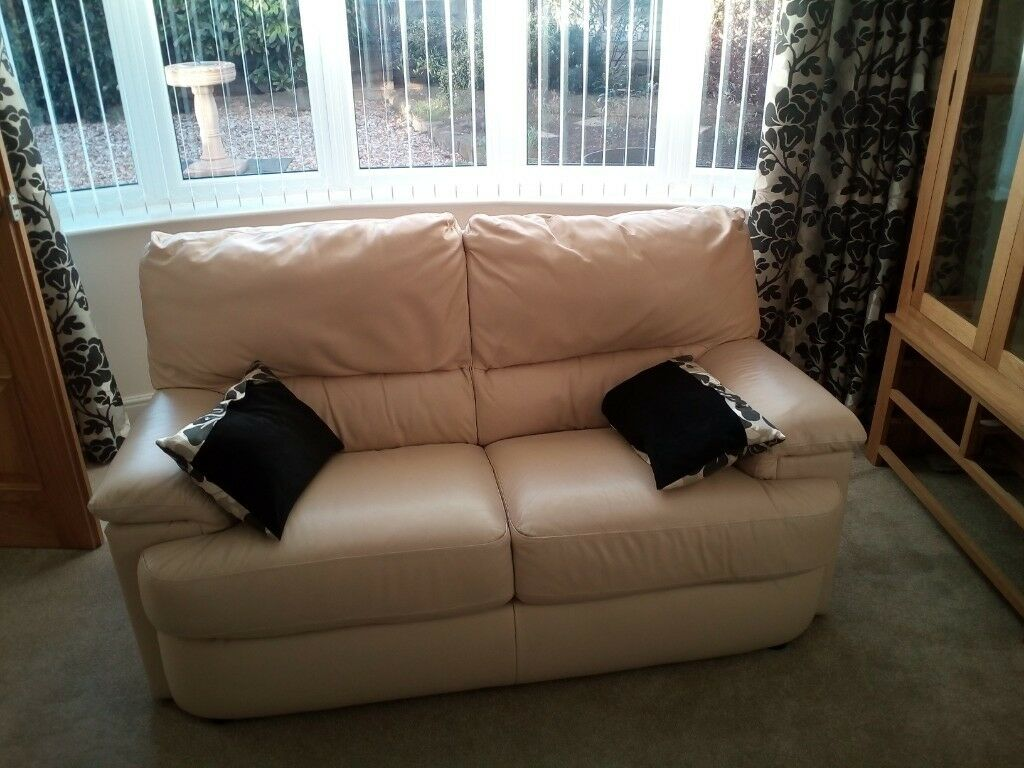 how to clean a cream leather sofa repair birmingham uk 3 and2 seater sofas in very good condition