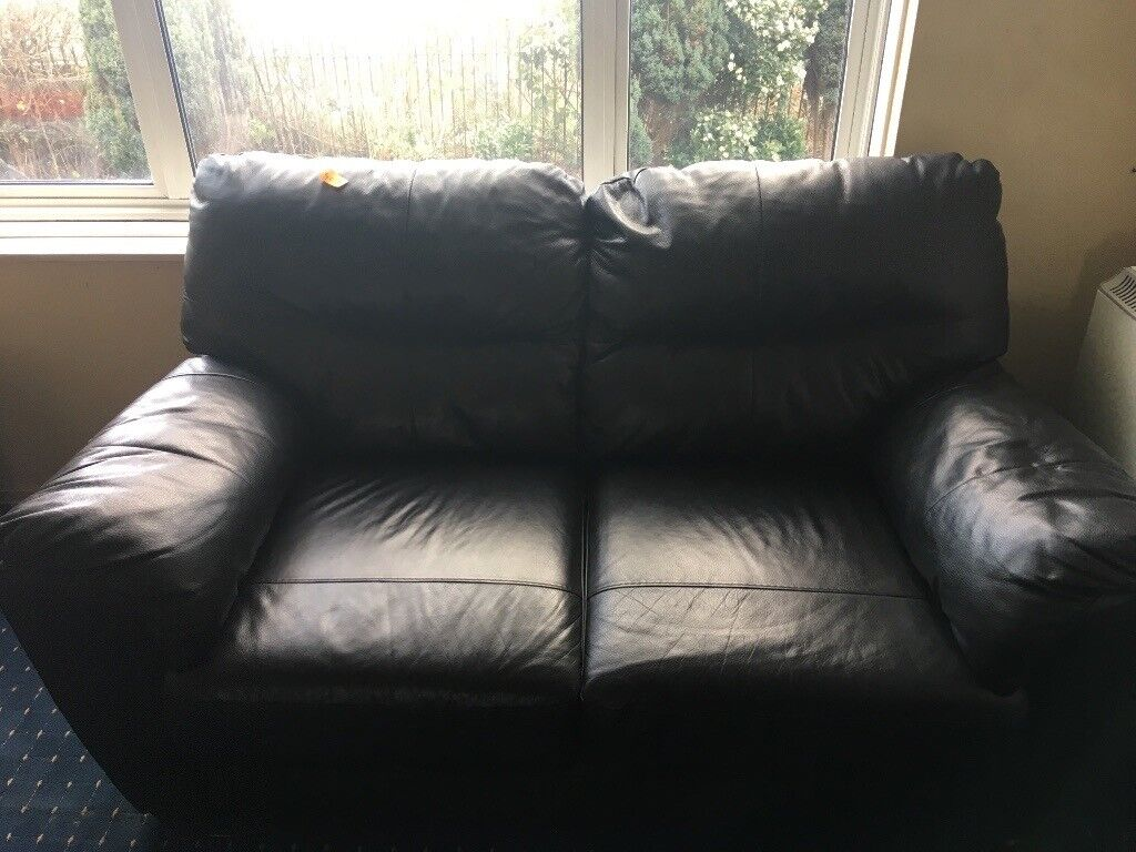 sofa london gumtree best top grain leather black two seater in south east