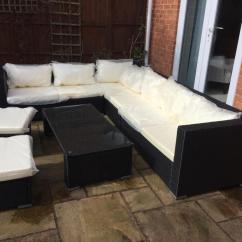 Rattan Effect Garden Corner Sofa Set High Sided Sofas Uk Furniture Brand New In