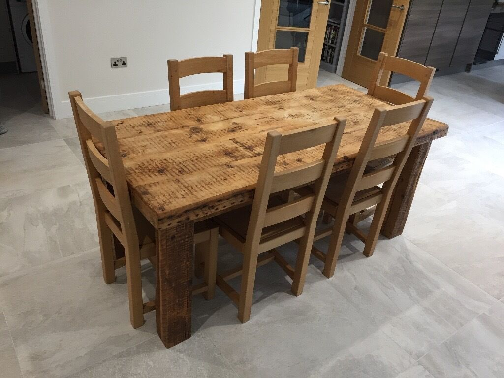 Solid Oak Farmhouse Dining Table And 6 Chairs In High