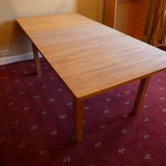 Ikea Wooden Dining Table 4 Chairs Chippendale Bjorna Solid Light Oak 6 8 Seater Extending