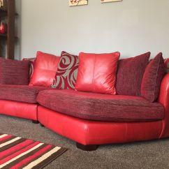Dfs Red Leather Corner Sofa Bed Armrest Tray Table And Fabric Designer Large 3 Seater