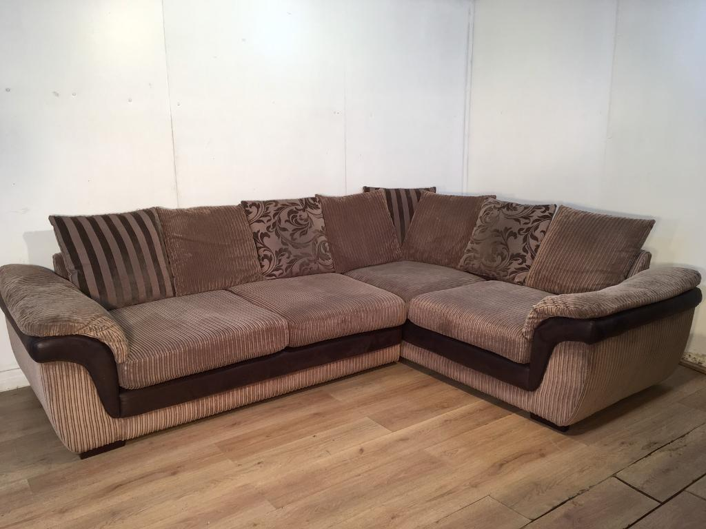 brown fabric corner sofa dfs spring cushion sofas shannon right hand facing 3 seater pillow